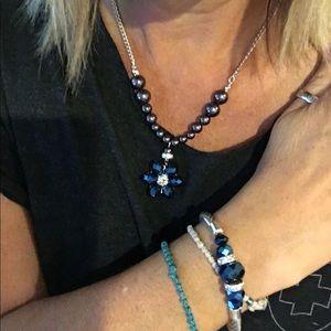 Blue Gem Necklace and Bracelet Set (2 for $20)❤️